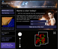 Screenshot of Staracle.com main page